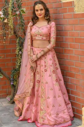 Flamingo Pink Color Chennai Silk Bridal Designer Lehenga Choli