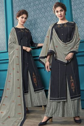 Flex Cotton Black Plazzo Salwar Kameez