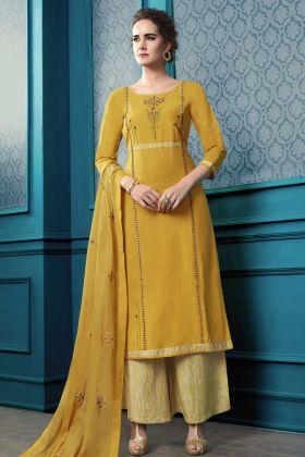 Flex Cotton Yellow Plazzo Salwar Suit