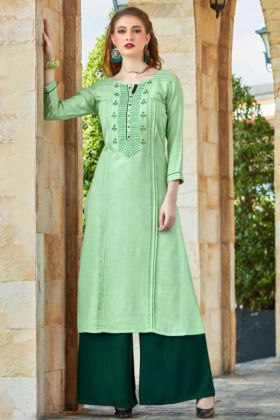 Flex Rayon Palazzo Kurti Pair Light Green Color