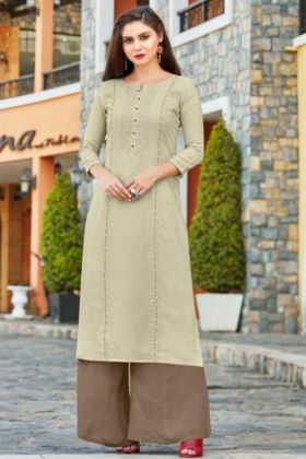 Flex Rayon Palazzo Kurti Pair Light Pista Color