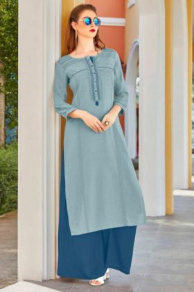 Flex Rayon Palazzo Kurti Pair Teal Blue Color