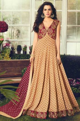 Floor-Length Anarkali Suit Beige Color With Cotton Fabric