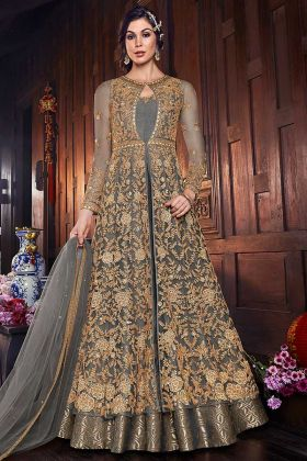 Floor Length Gown Fabric Art Silk With Embroidered Net