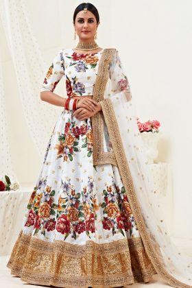 Floral Designing White Banglori Satin Lehenga Wedding Arrival