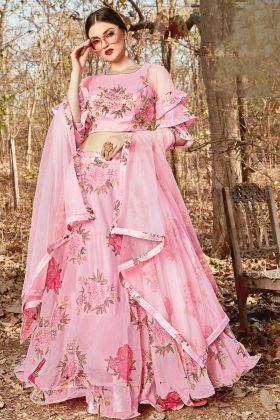 Floral Printed Orgenza Party Wear Designer Lehenga Choli