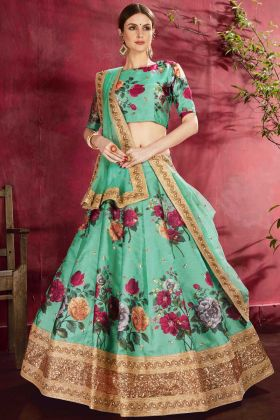 Floral Digital Print Designer Art Silk Sea Green Lehenga Choli