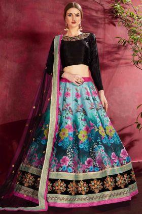 Floral Digital Print Wedding Art Silk Blue Lehenga Choli