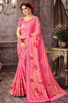 Floral Print Chiffon Festival Saree In Pink Color