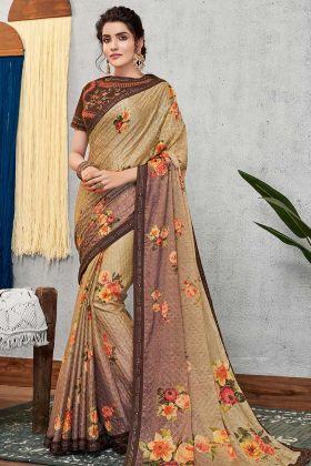 Floral Prints Silk Georgette Designer Saree Brown Color