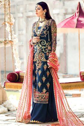 Foil Print Dupatta Pakistani Suit Blue Color Net Fabric
