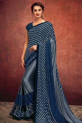 Foil Print Work Blue Color Fancy Lycra Reception Saree