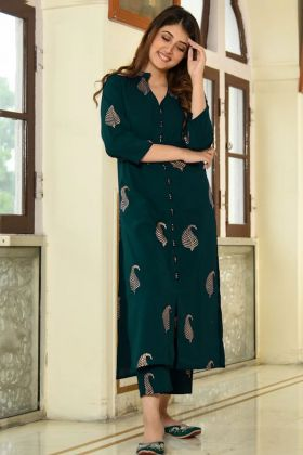 Foil Print Work Green Color Slub Cotton Party Wear Palazzo Kurti Set