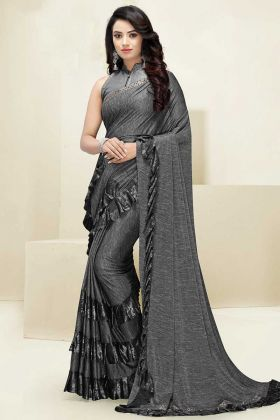 Foil Print Work Grey Color Imported Fabric Designer Ruffle Saree