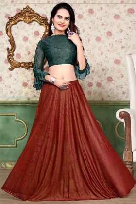 Foil Print Work Lycra Fabric Red Lehenga Choli
