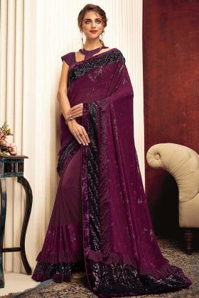 Foil Print Work Wine Color Lycra Ruffle Saree