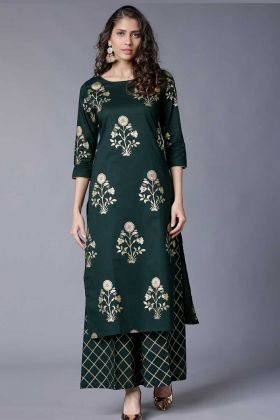 Foil Printed Work Green Color Rayon Palazzo Kurti Set