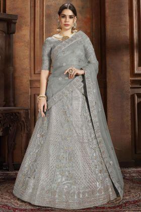 Foil Zari Work Grey Color Soft Net Lehenga Choli