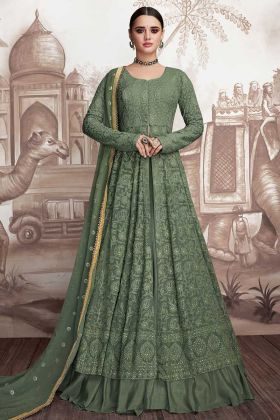 Forest Green Anarkali Gown Heavy Faux Georgette And Butterfly Net
