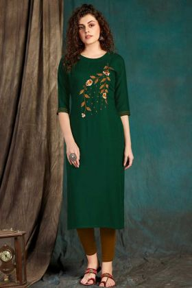 Forest Green Designer Party Wear Readymade Kurti
