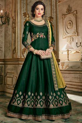 Forest Green Designer Anarkali Suit
