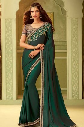 Forest Green Mulmul Silk Embroidery Saree