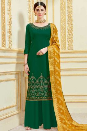 Forest Green Pure Jam Satin Color Palazzo Salwar Kameez With Embroidery Work
