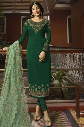 Forest Green Satin Georgette Straight Suit