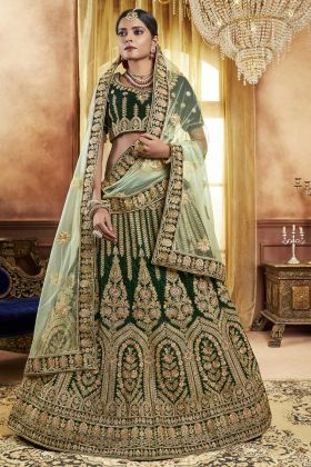 Forest Green Velvet Bridal Lehenga Choli