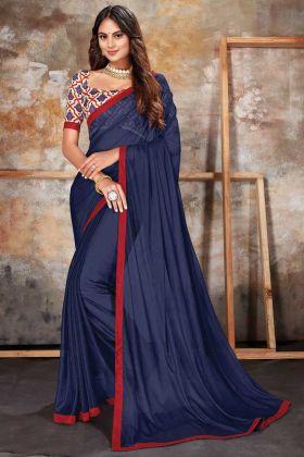 Formal Look Latest Designer Navy Blue Lycra Saree