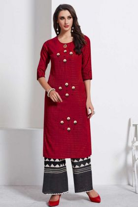 Formal Fashion Cotton Weaving Printed Kurti Maroon Color