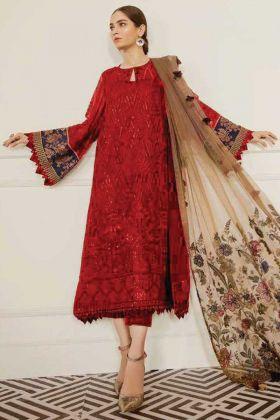 Foux Georgette Pakistani Style Red Designer Salwar Suit