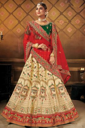 Freshly New Designer Heavy Bridal Cream Malai Satin Lehenga Choli