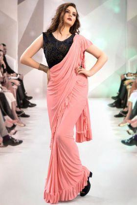 Frill Fabric Designer Ruffle Saree In Peach Color