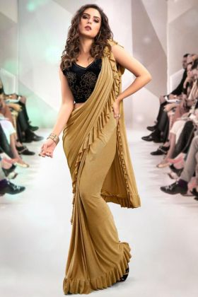 Frill Fabric Party Wear Ruffle Saree In Beige Color