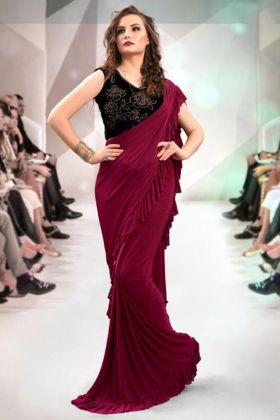 Frill Fabric Saree In Wine Color