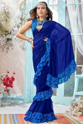Frill Saree Georgette Fabric With Blue Color
