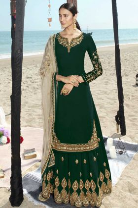 Full Sleeves Faux Georgette Sharara Salwar Suit In Green