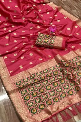 Full Weaving Pure Silk Pink Color South Wedding Bridal Saree