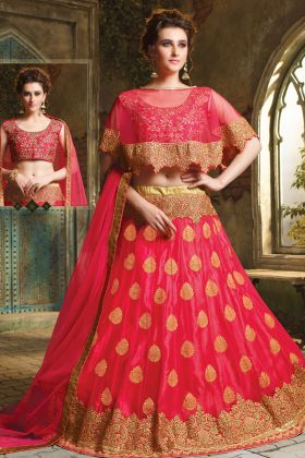 Fuschia Pink Jacquard Net Wedding Lehenga Choli