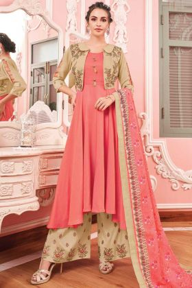 Gajari Beige Color Maslin Anarkali Style Suit