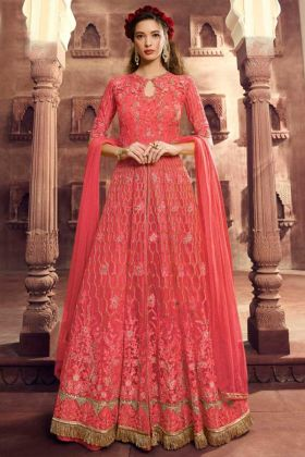 Gajari Color Net Anarkali Dress With Heavy Embroidery Work