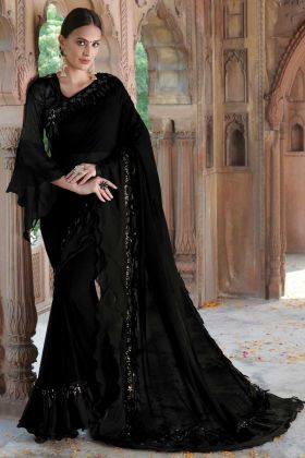 Georgette Black Color Sequence Work Party Wear Saree
