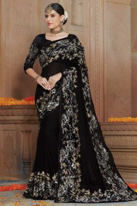 Georgette Black Color Thread Embroidery Party Wear Saree