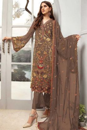 Georgette Brown Color Party Wear Pakistani Style Salwar Suit