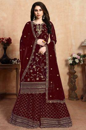 Georgette Designer Party Wear Salwar Suit Maroon Color