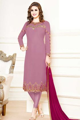 Georgette Designer Straight Suit In Lilac Color