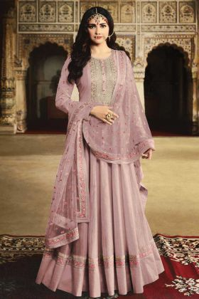 Georgette Dusty Pink Anarkali Dress In Resham Work