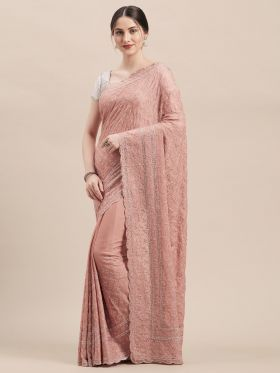 Georgette Dusty Pink Color Wedding Saree