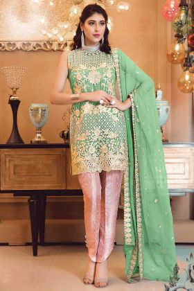 Georgette Green Color Patch Work Pakistani Suit For Eid